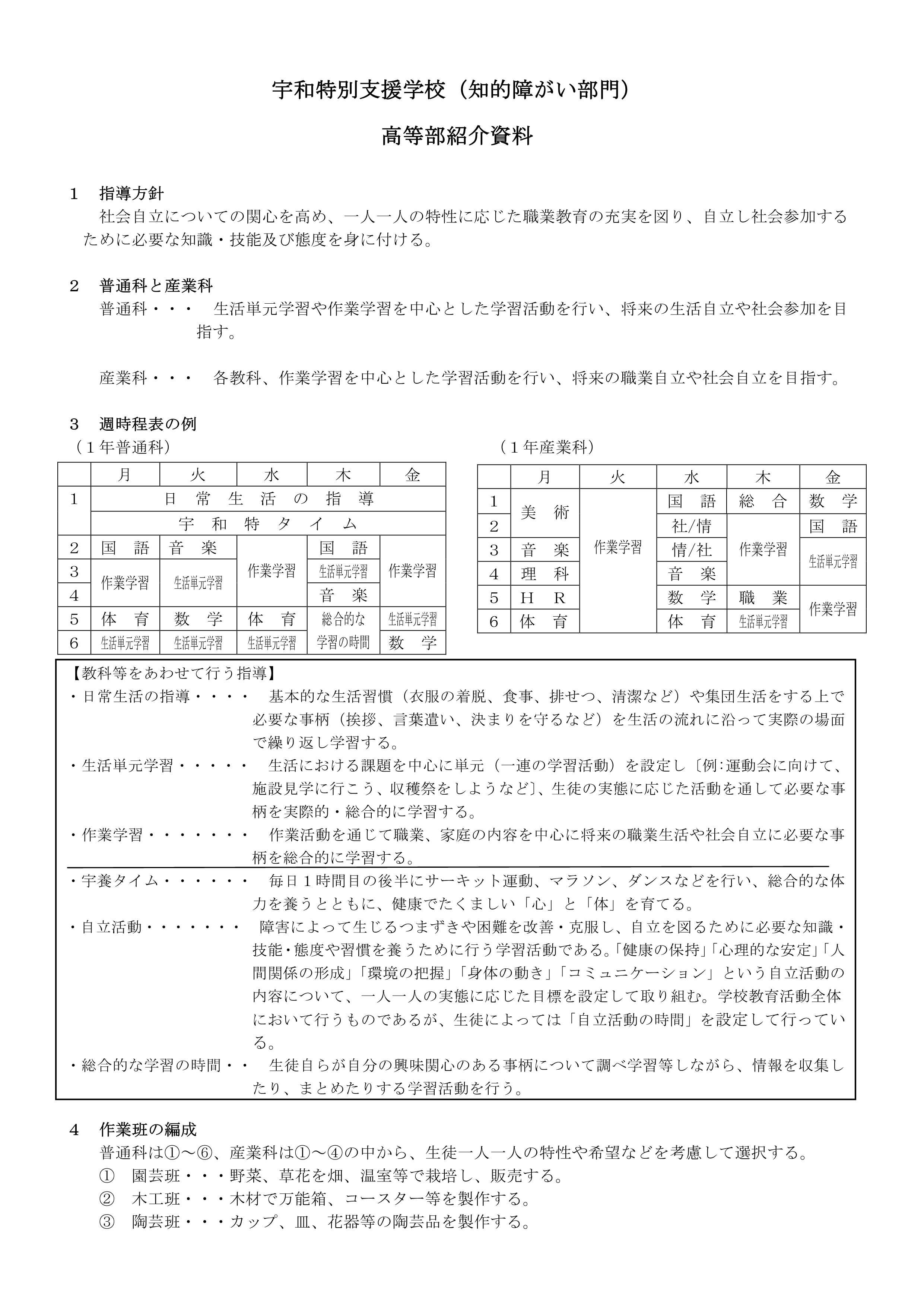 高等部 - 愛媛県立宇和特別支援...